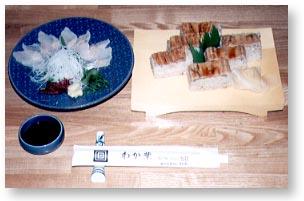 ▲あなごの刺身と箱寿司