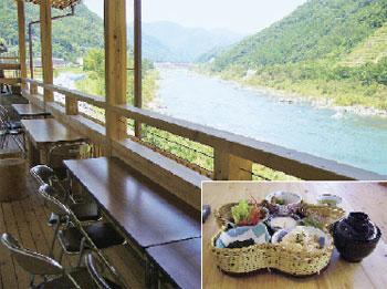 食堂から眺める四万十川と「とおわかご膳」食堂から眺める四万十川と「とおわかご膳」