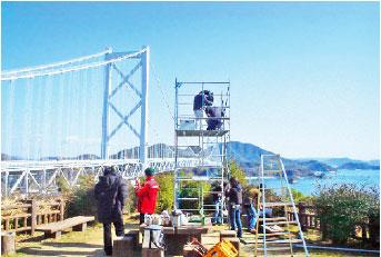 しまなみ海道でのロケ風景(尾道市提供)