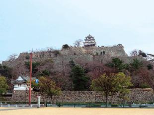 画像:内堀から本丸へ4層、高さ60mの石垣