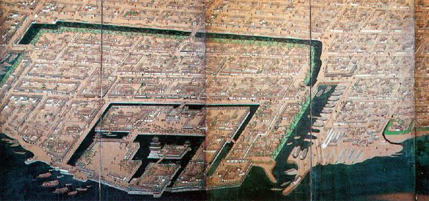 画像:高松城下図屏風(香川県立ミュージアム所蔵)