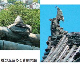 画像:桃の瓦留めと青銅の鯱