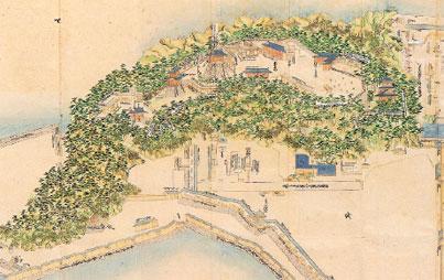 画像:築城当時の城山山頂周辺「徳島城絵図」(個人蔵)