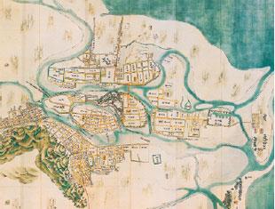 画像:中州の小丘に建てられた徳島城と城下町 「阿波国渭津城下之絵図」 (人間文化研究機構国文学研究資料館所蔵)