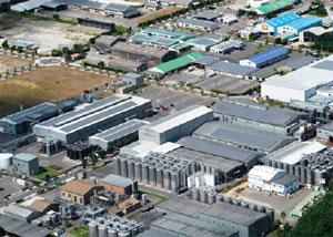 太陽光パネルを設置した工業団地